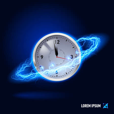 maelstrom: Clock surrounded by a stream of blue energy in the space Stock Photo