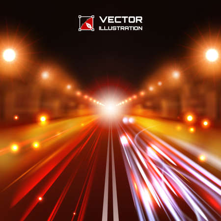 Red tint night road with glowing lights, bokeh and speed lines Vector