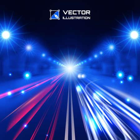 velocidad: azul camino tinte noche con las luces que brillan intensamente, bokeh y líneas de alta velocidad Vectores