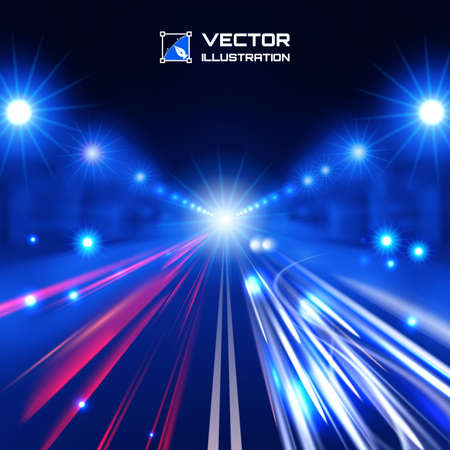 blue tint night road with glowing lights, bokeh and speed lines Vector