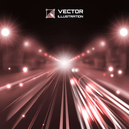 copper tint night road with glowing lights, bokeh and speed lines Illustration