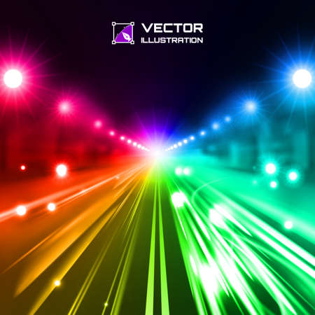 colorful tint night road with glowing lights, bokeh and speed lines Vector