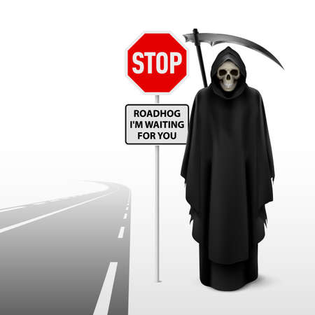 single lane road: Scytheman beside the  road with a traffic sign of stop