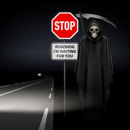 Scytheman beside the road with a traffic sign Stop Vector