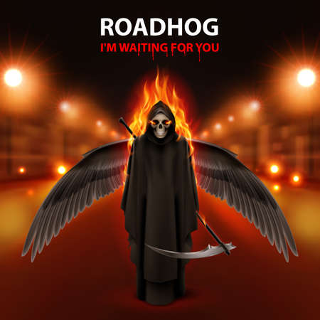 RoadHog Ilustration with burning  black  scytheman and text-i am waiting for you-over blurred road with lightsRoadHog Ilustration