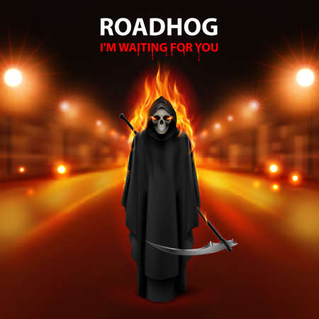fast driving: RoadHog Ilustration with burning  scary scytheman and text-i am waiting for you-over blurred road with lights