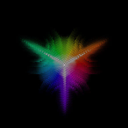 pixelated: Multicolor dots digital in form star on black background Illustration