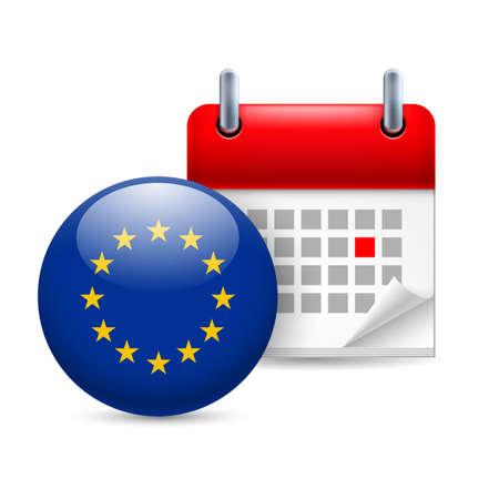 eu flag: Calendar and round EU flag icon. Europe Day