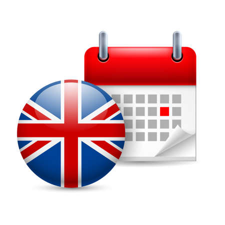 Calendar and round British flag icon. National holiday in Great Britain Stock Vector - 30222166