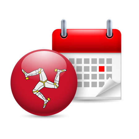 isle: Calendar and round flag icon. National holiday on Isle of Man