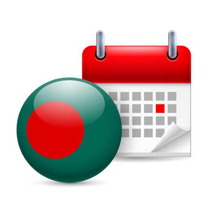 Calendar and round Bangladeshi flag icon. National holiday in Bangladesh Stock Vector - 30222174