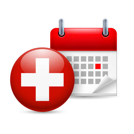 swiss flag: Calendar and round Swiss flag icon. National holiday in Switzerland
