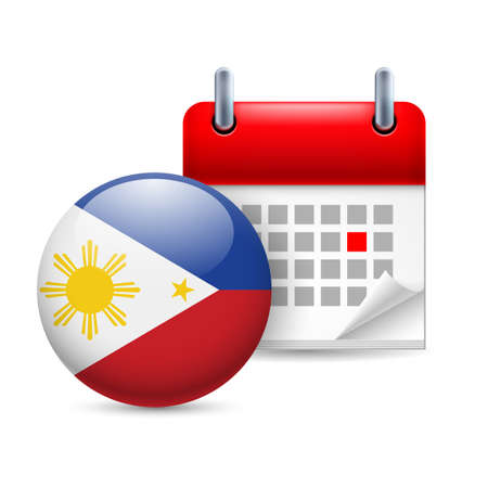 filipino: Calendar and round Filipino flag icon. National holiday in Philippines