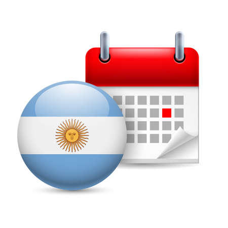 argentinian flag: Calendar and round Argentinian flag icon. National holiday in Argentina