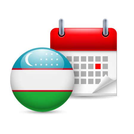 uzbek: Calendar and round Uzbek flag icon. National holiday in Uzbekistan Illustration