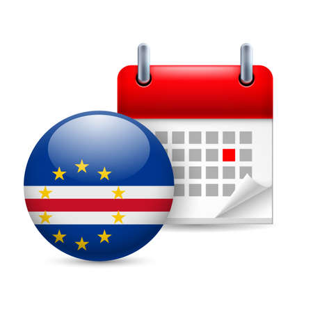 cape verde: Calendar and round flag icon. National holiday in Cape Verde