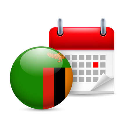 zambian flag: Calendar and round Zambian flag icon. National holiday in Zambia Illustration