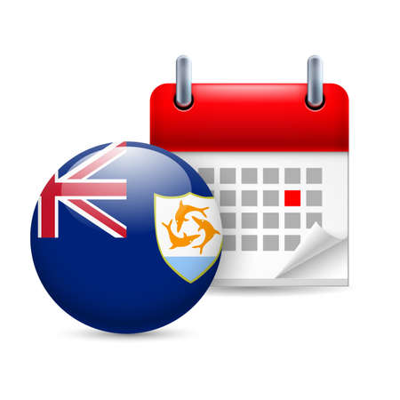 anguilla: Calendar and round flag icon. National holiday in Anguilla