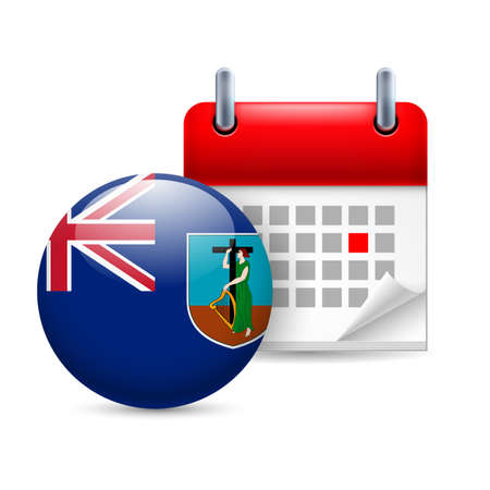 Calendar and round flag icon. National holiday in Montserrat Vector