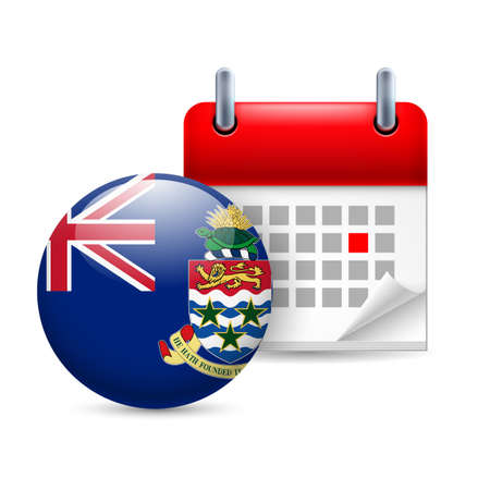 cayman: Calendar and round flag icon. National holiday on Cayman Islands
