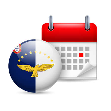 azores: Calendar and round flag icon. National holiday in Azores
