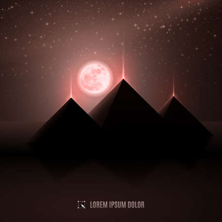 ancient egyptian civilization: Brown, copper and dark beige night  africa egypt  desert  landscape background  illustration with moon, pyramids and stars