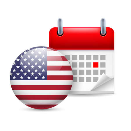 national holiday: Calendar and round American flag icon. National holiday in USA Illustration