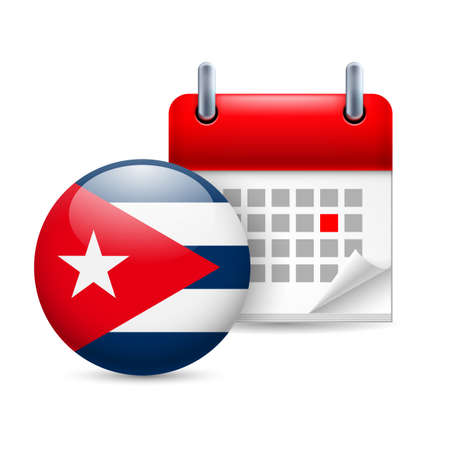 cuban flag: Calendar and round Cuban flag icon. National holiday in Cuba