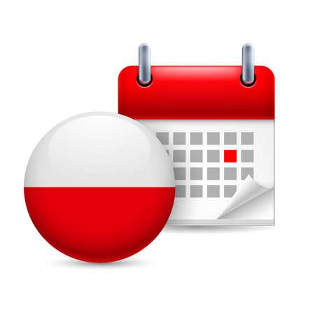 polish flag: Calendar and round Polish flag icon. National holiday in Poland Illustration