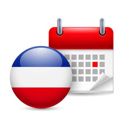 ex: Calendar and round Yugoslavian flag icon. National holiday in Yugoslavia