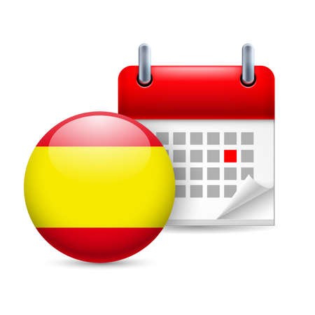 spanish flag: Calendar and round Spanish flag icon. National holiday in Spain Illustration