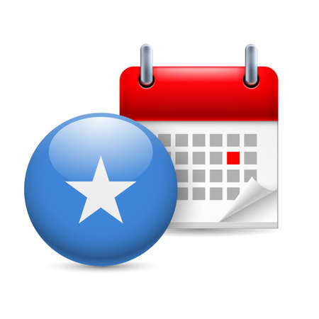 Calendar and round Somalian flag icon. National holiday in Somalia Stock Vector - 30221994