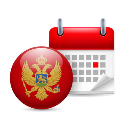 Calendar and round Montenegrin flag icon. National holiday in Montenegro Stock Vector - 30220338