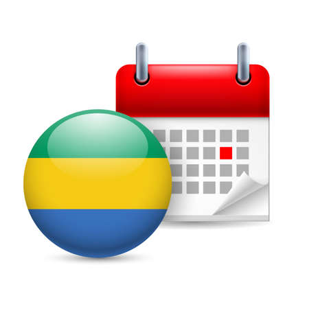 Calendar and round  Gabonese flag icon. National holiday in  Gabon Stock Vector - 30220340