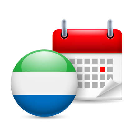 Calendar and round flag icon. National holiday in Sierra Leone Vector