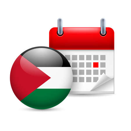 palestine: Calendar and round Palestinian flag icon. National holiday in Palestine Illustration