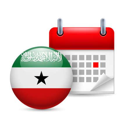 somaliland: Calendar and round flag icon. National holiday in Somaliland