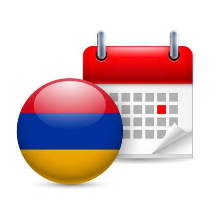 armenian: Calendar and round Armenian flag icon. National holiday in Armenia