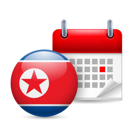 Calendar and round flag icon. National holiday in North Korea Stock Vector - 30220354