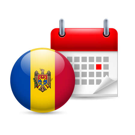 moldovan: Calendar and round Moldovan flag icon. National holiday in Moldova Illustration