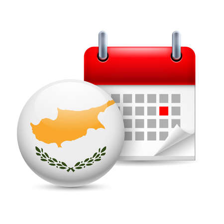 national holiday: Calendar and round Cypriot  flag icon. National holiday in Cyprus