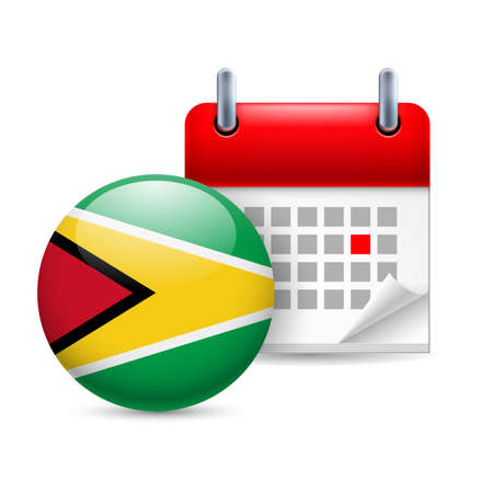 guyanese: Calendar and round Guyanese flag icon. National holiday in Guyana Illustration