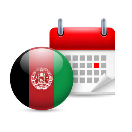 afghan flag: Calendar and round Afghan flag icon. National holiday in Afghanistan