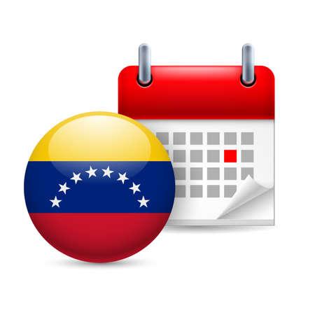 venezuelan: Calendario y icono de bandera venezolana ronda. Fiesta nacional en Venezuela Vectores