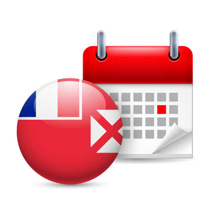 wallis: Calendar and round flag icon. National holiday in Wallis and Futuna