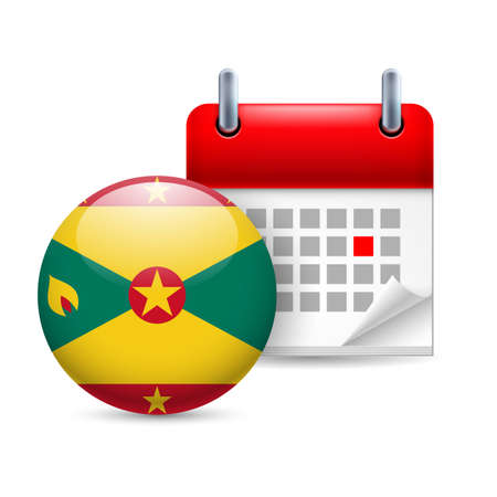 Calendar and round flag icon. National holiday in Grenada Stock Vector - 30221756
