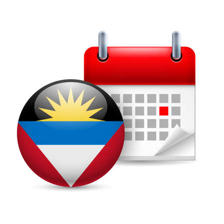 antigua: Calendar and round flag icon. National holiday in Antigua and Barbuda