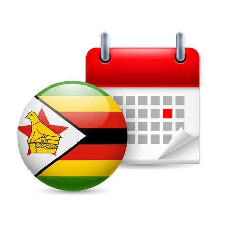 Calendar and round Zimbabwean flag icon. National holiday in Zimbabwe Vector