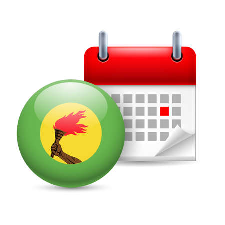 zaire: Calendar and round flag icon. National holiday in Zaire