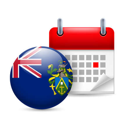 pitcairn: Calendar and round flag icon. National holiday on Pitcairn Islands Illustration